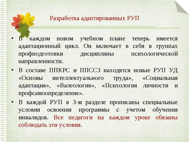 Разработка адаптированных РУП В каждом новом учебном плане теперь имеется ада...