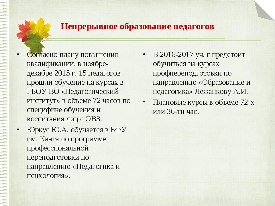 Непрерывное образование педагогов Согласно плану повышения квалификации, в но...