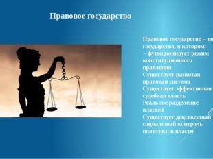 Правовое государство – тип государства, в котором: - функционирует режим конс