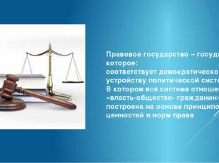 Правовое государство – государство, которое: соответствует демократическому у