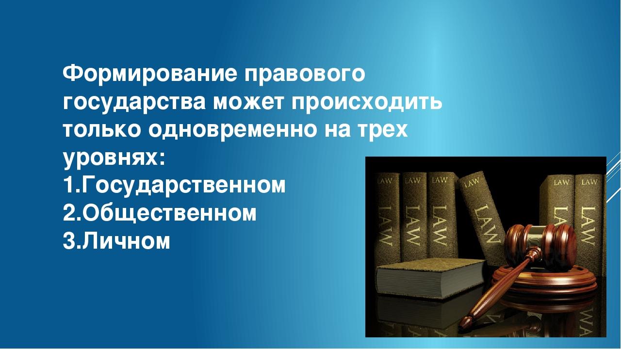 Формирование правового государства может происходить только одновременно на т...