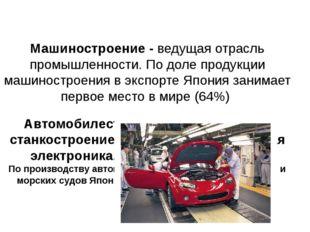 Машиностроение - ведущая отрасль промышленности. По доле продукции машиностро