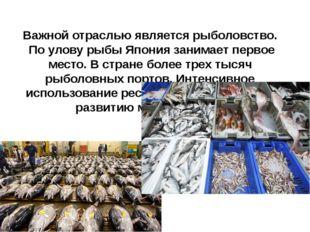 Важной отраслью является рыболовство. По улову рыбы Япония занимает первое ме