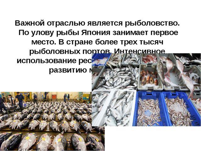 Важной отраслью является рыболовство. По улову рыбы Япония занимает первое ме...