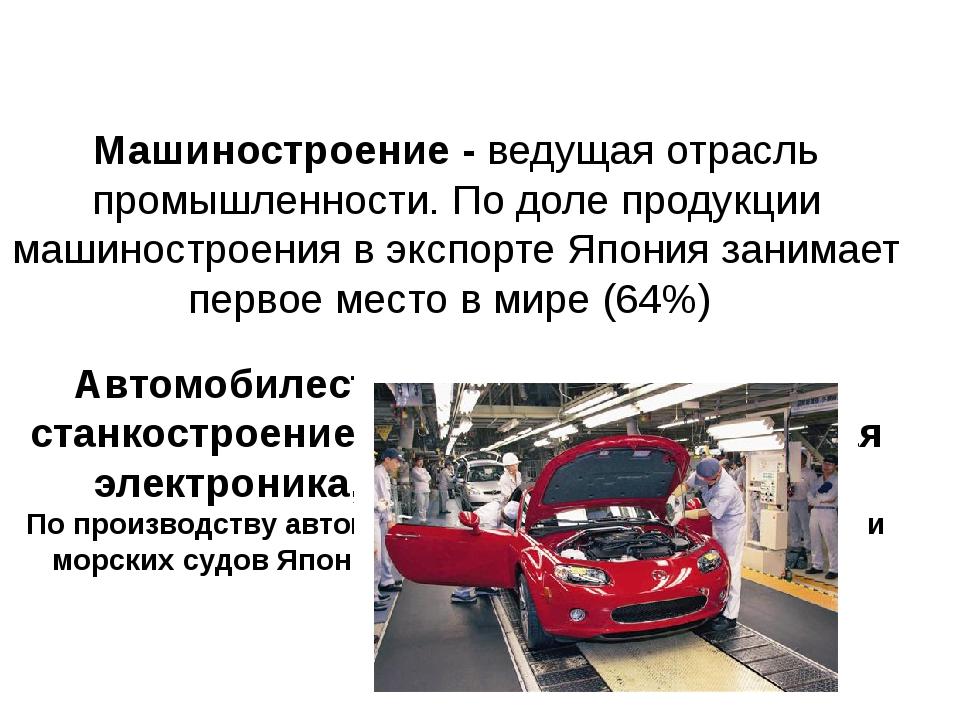 Машиностроение - ведущая отрасль промышленности. По доле продукции машиностро...