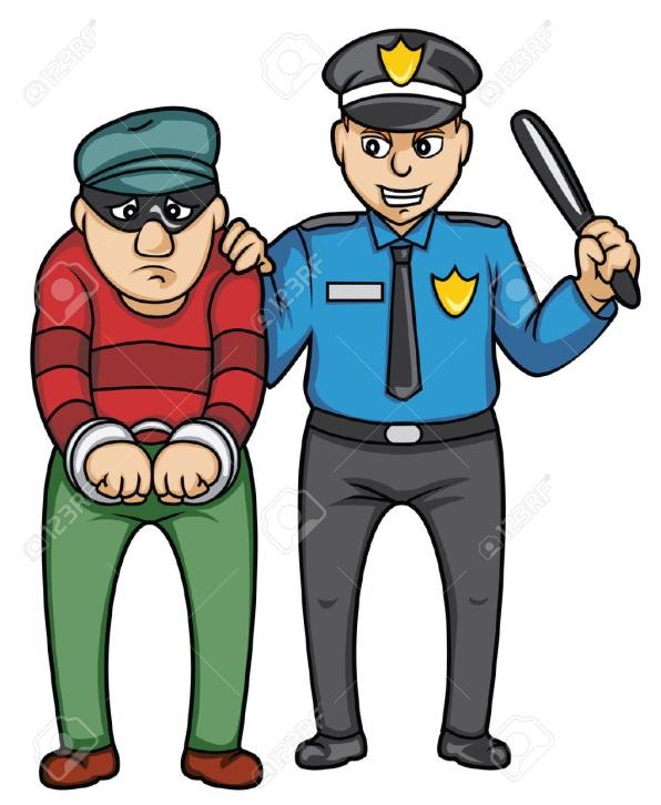 Полицейский с преступником рисунок