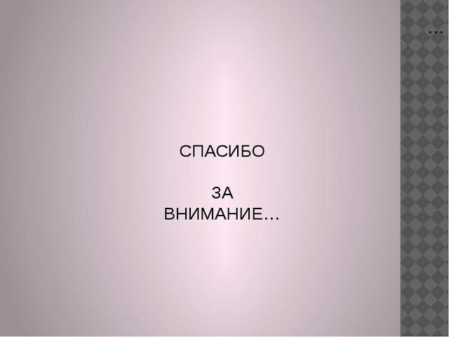 … СПАСИБО ЗА ВНИМАНИЕ…