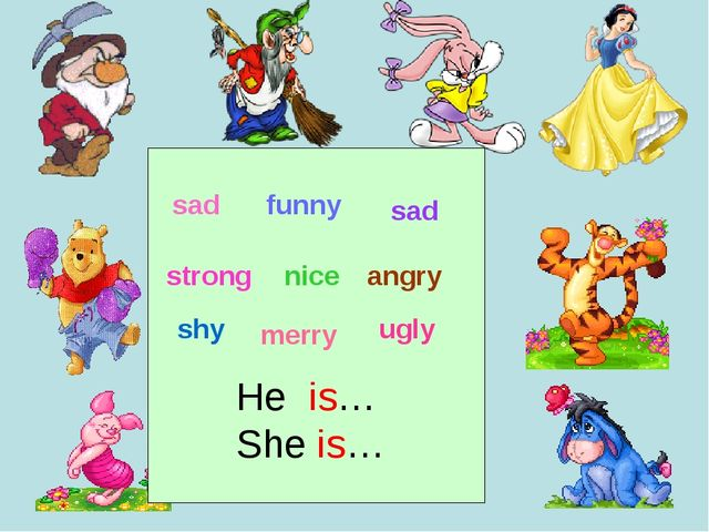 sad funny angry sad nice strong shy ugly merry He is… She is…