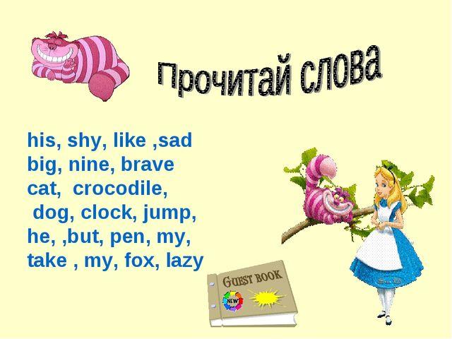 his, shy, like ,sad big, nine, brave cat, crocodile, dog, clock, jump, he, ,b...