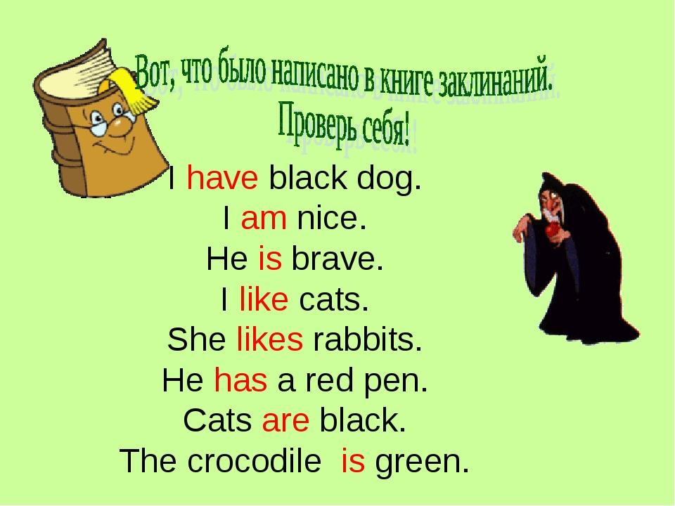 I have black dog. I am nice. He is brave. I like cats. She likes rabbits. He...