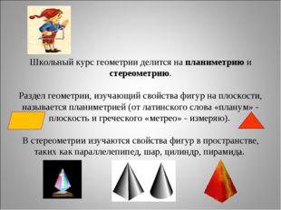 Школьный курс геометрии делится на планиметрию и стереометрию. Раздел геометр