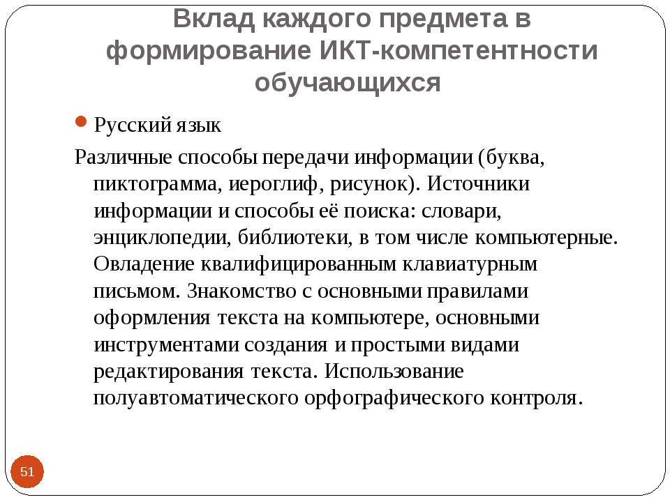 Вклад каждого предмета в формирование ИКТ-компетентности обучающихся * Русски...