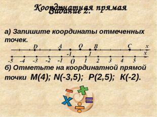 Координатная прямая а) Запишите координаты отмеченных точек. б) Отметьте на к