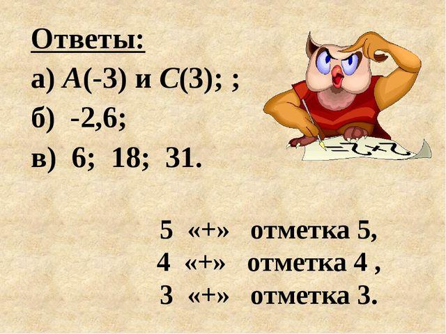 5 «+» отметка 5, 4 «+» отметка 4 , 3 «+» отметка 3. Ответы: а) А(-3) и С(3);...