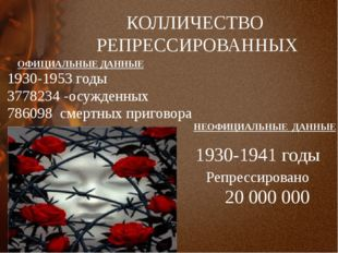 КОЛЛИЧЕСТВО РЕПРЕССИРОВАННЫХ НЕОФИЦИАЛЬНЫЕ ДАННЫЕ 1930-1941 годы Репрессирова