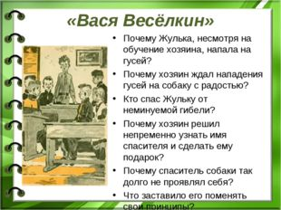 «Вася Весёлкин» Почему Жулька, несмотря на обучение хозяина, напала на гусей?