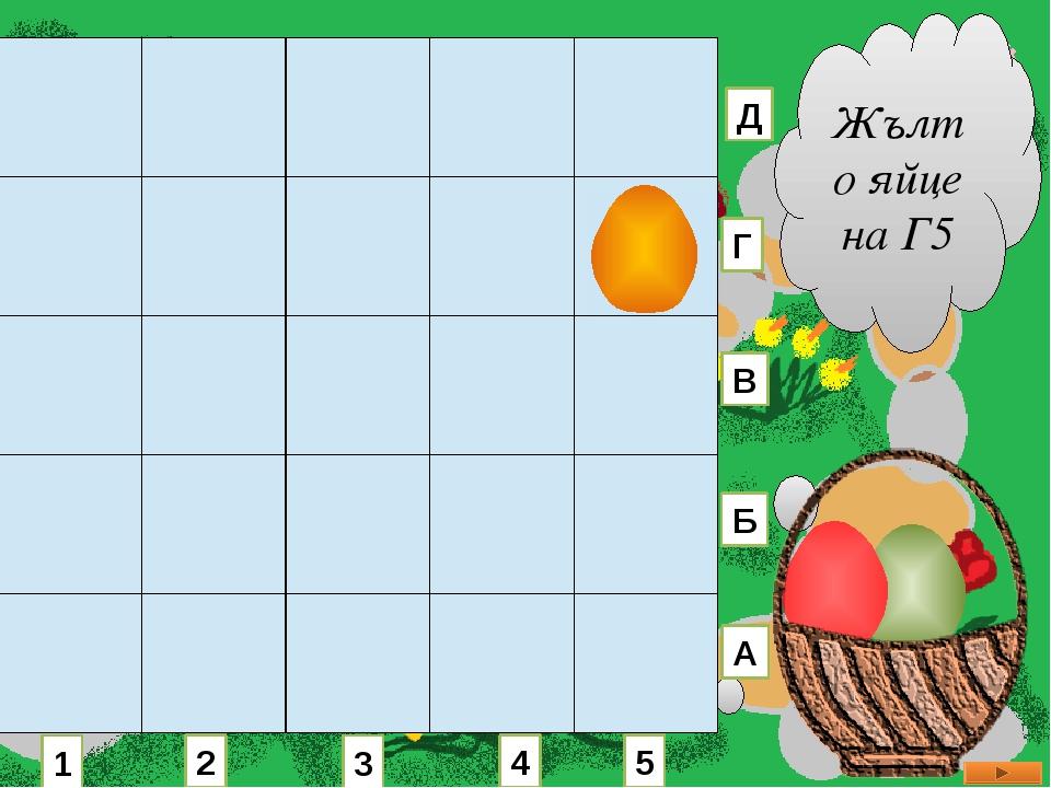 Жълто яйце на Г5 1 2 3 4 5 А Б В Г Д