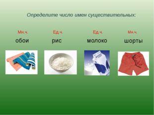 Определите число имен существительных: обои рис молоко шорты Мн.ч. Ед.ч. Ед.ч