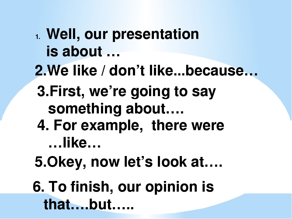 Well, our presentation is about … 2.We like / don't like...because… 3.First,...
