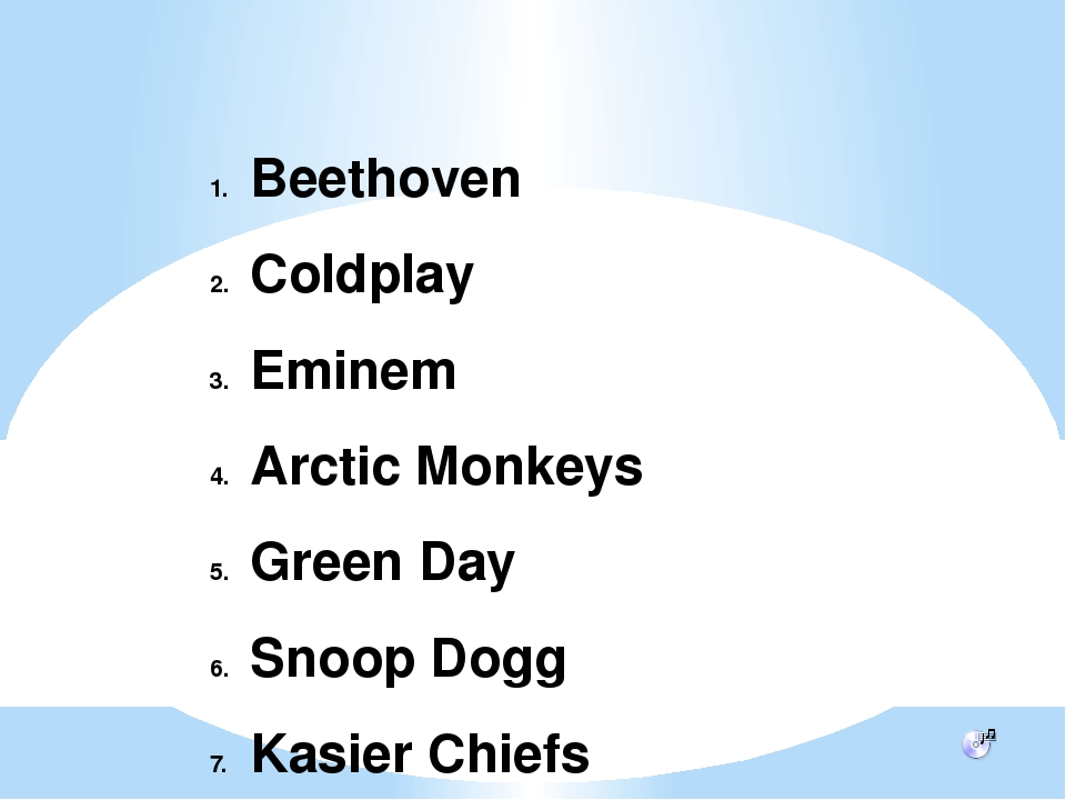 Beethoven Coldplay Eminem Arctic Monkeys Green Day Snoop Dogg Kasier Chiefs