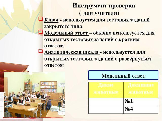 Инструмент проверки ( для учителя) Ключ - используется для тестовых заданий...