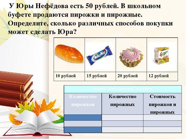 У Юры Нефёдова есть 50 рублей. В школьном буфете продаются пирожки и пирожны...