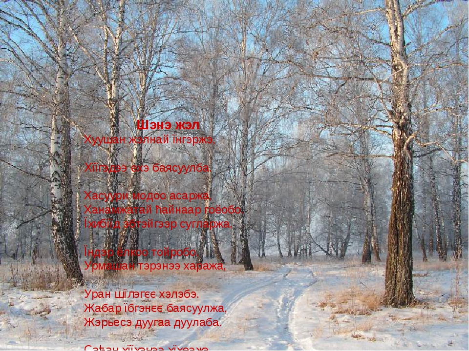 Шэнэ жэл Хуушан жэлнай їнгэржэ, Хїїгэдээ ехэ баясуулба. Хасуури модоо асаржа,...
