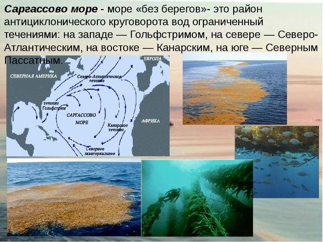 Саргассово море - море «без берегов»- это район антициклонического круговорот...