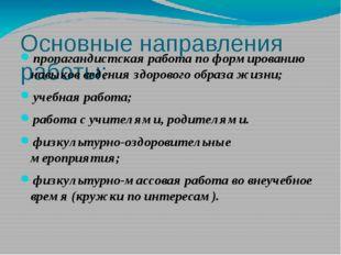 Основные направления работы: пропагандистская работа по формированию навыков
