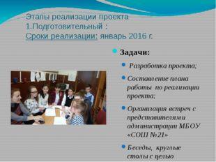 Этапы реализации проекта 1.Подготовительный : Сроки реализации: январь 2016 г