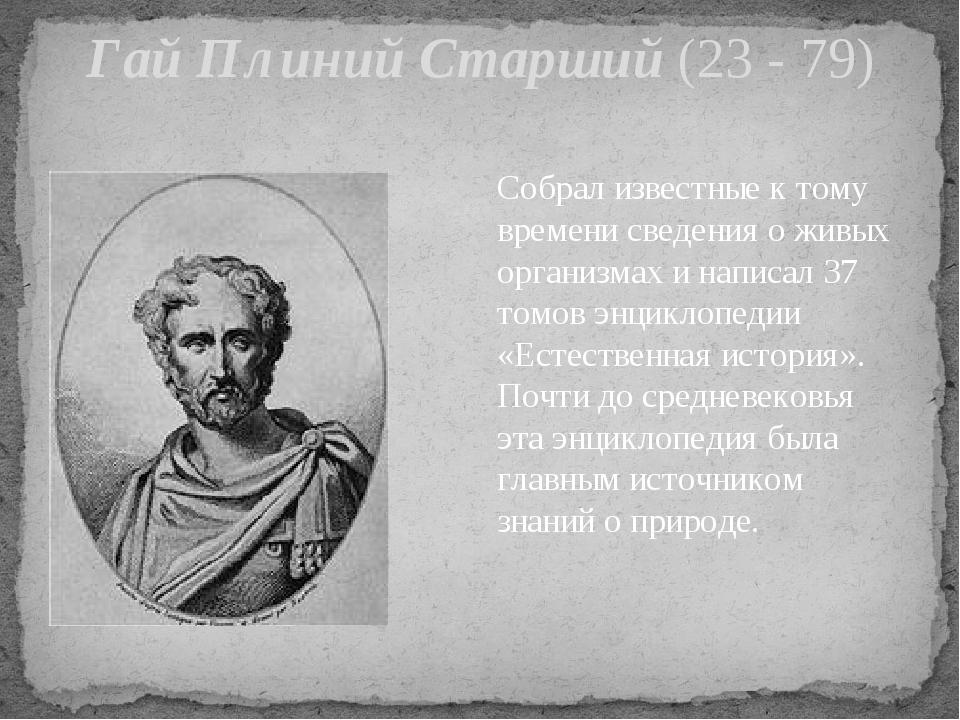Гай Плиний Старший (23 - 79) Собрал известные к тому времени сведения о живых...