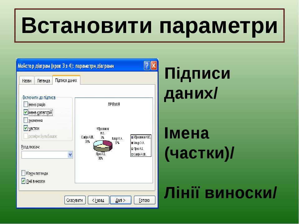 Встановити параметри Підписи даних/ Імена (частки)/ Лінії виноски/ Далі