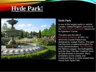 Hyde Park is one of the largest parks in central London, United Kingdom, and