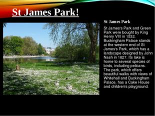 St James Park St James's Park and Green Park were bought by King Henry VIII i