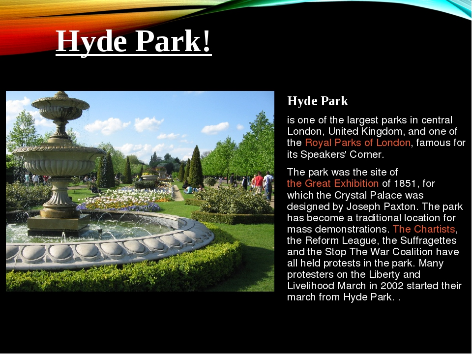 Hyde Park is one of the largest parks in central London, United Kingdom, and...