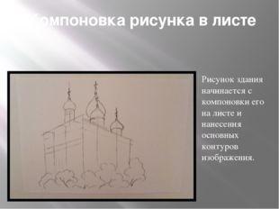Компоновка рисунка в листе Рисунок здания начинается с компоновки его на лис