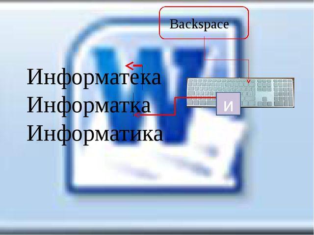 Backspace Информатека Информатка Информатика и