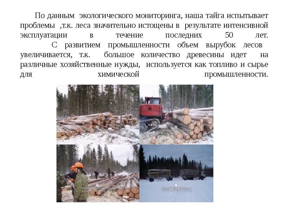 По данным экологического мониторинга, наша тайга испытывает проблемы ,т.к. л...