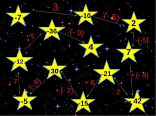 4 7 -7 -10 - 3 -:(- 5) 2 - 42 -(-5) • (- 6) -: 2 -21 + 6 -15 • (- 2) 30 -:(-