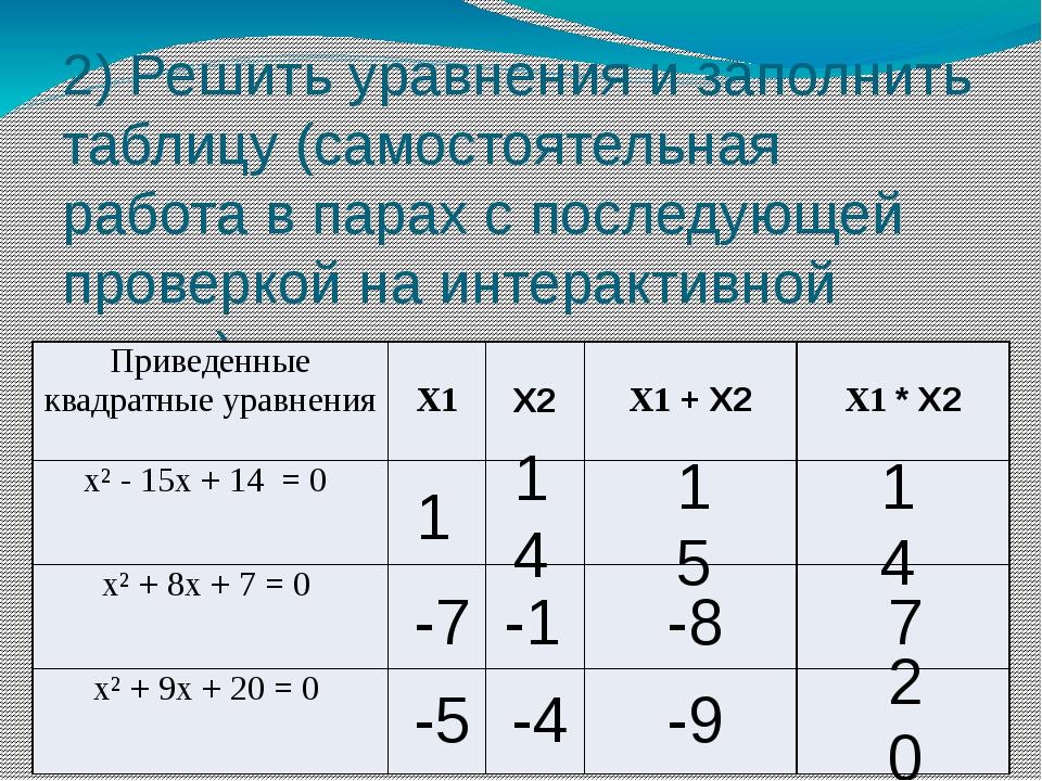 2) Решить уравнения и заполнить таблицу (самостоятельная работа в парах с пос...