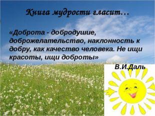 «Доброта - добродушие, доброжелательство, наклонность к добру, как качество ч