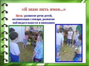 Цель: развитие речи детей, активизация словаря, развитие наблюдательности и