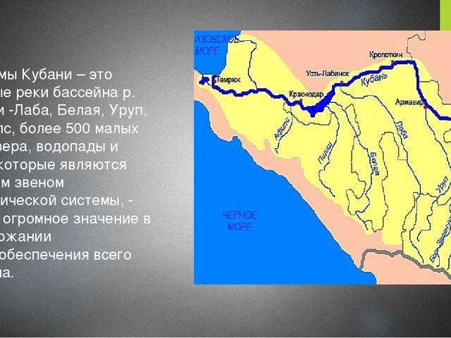 Водоемы Кубани – это главные реки бассейна р. Кубани -Лаба, Белая, Уруп, Псе...