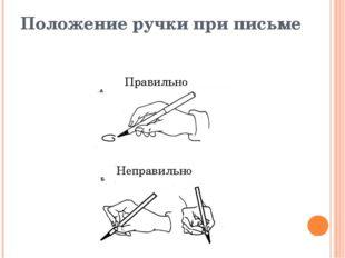 Положение ручки при письме Правильно Неправильно