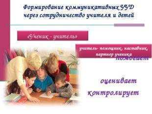 Формирование коммуникативных УУД через сотрудничество учителя и детей помогае