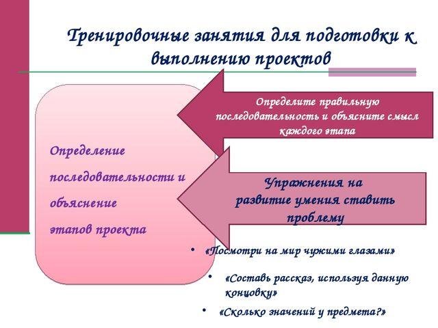 Тренировочные занятия для подготовки к выполнению проектов Определение послед...