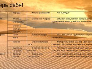 Проверь себя! Расы Народы Место проживания Как выглядят Европеоидная