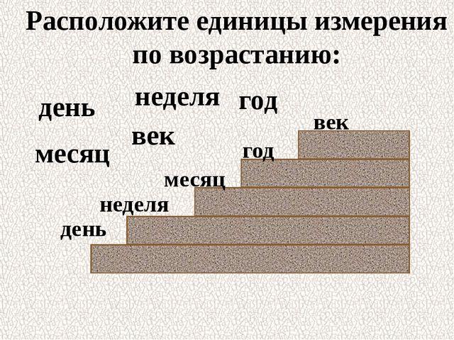месяц неделя год день век день год век месяц неделя Расположите единицы измер...