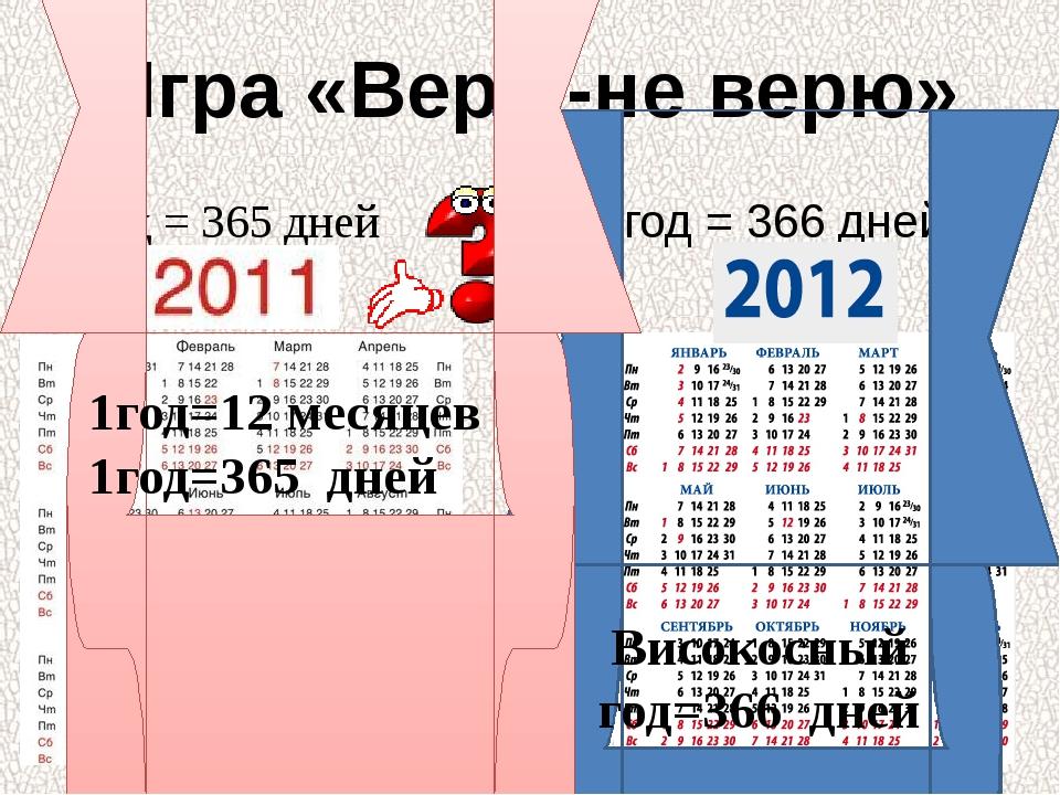 Игра «Верю-не верю» 1год = 365 дней 1год = 366 дней Високосный год=366 дней 1...