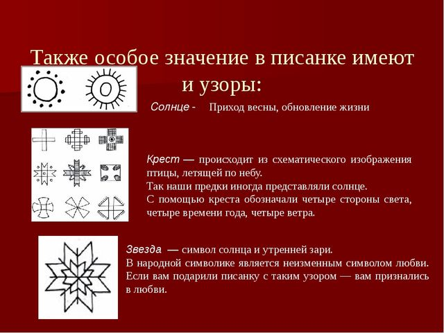 Также особое значение в писанке имеют и узоры: Солнце- Приход весны, обновл...